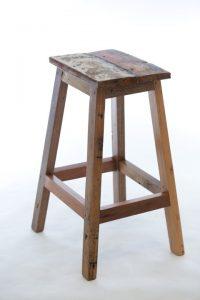 כסא בר עץ טיק ממוחזר