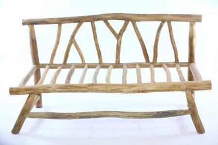 ספסל זוגי ענפים עץ טיק