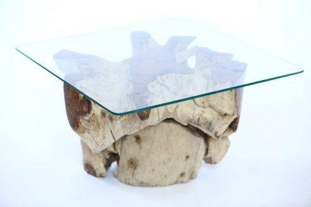 שולחן סלון גזע עץ טיק זכוכית